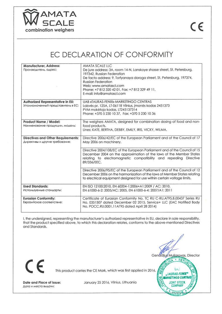 EC Declaration Of Conformity AMATA weighers