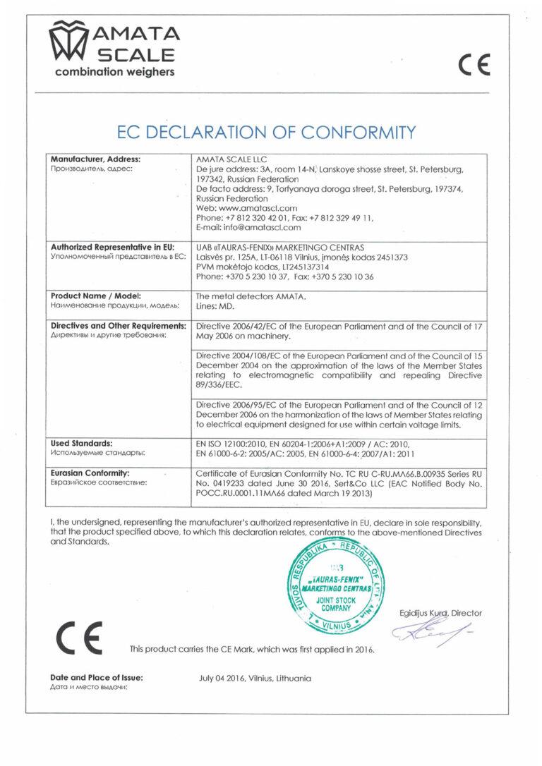 EC Declaration Of Conformity AMATA metal detectors